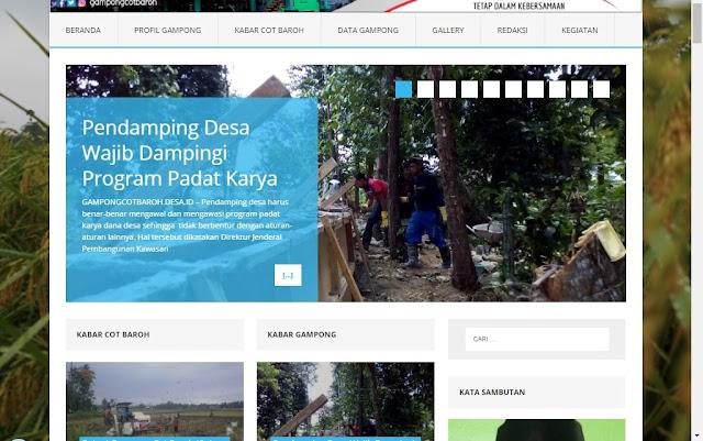Tampilan Website Gampong Cot Baroh Menggunakan Sistem Informasi Desa dan Kawasan (Sideka)