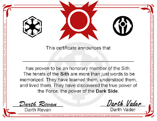 Sith Certificate - Free Printable