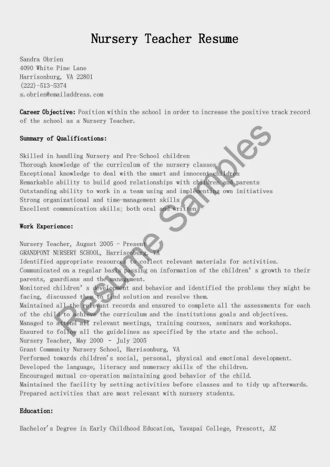 resume samples  nursery teacher resume sample