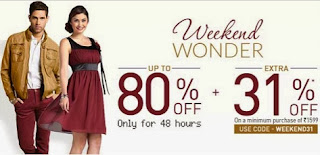 Jabong Weekend Offer: Flat  31% Extra Discount on Rs.1599