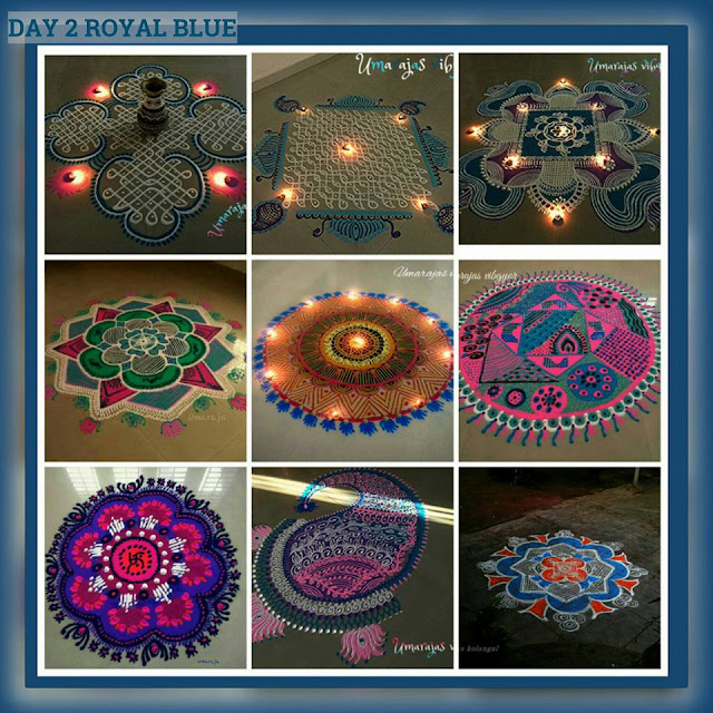 Navaratri Rangoli Day 2 - Royal Blue
