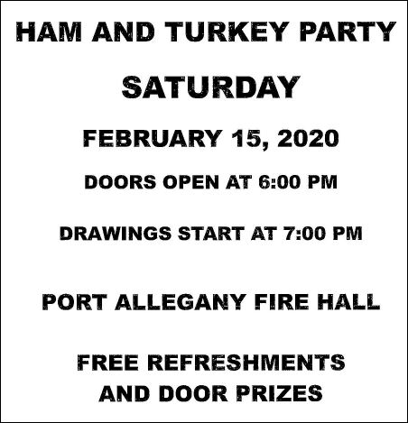 2-15 Ham & Turkey Party, Port Allegany VFD