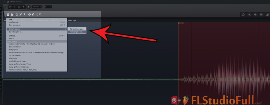 clique no ícone de disquete (file) do Edson, vá até a opção Export Regions