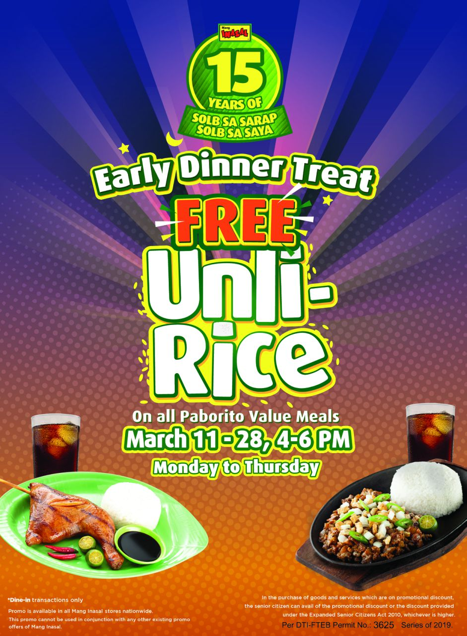 Cuisine Royale Brightness Too High Lemon Greentea Mang Inasal Celebrates 15th Year With Free Unli