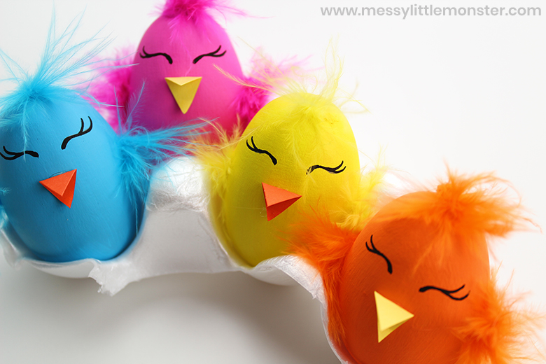 Easter chick craft using painted wooden eggs