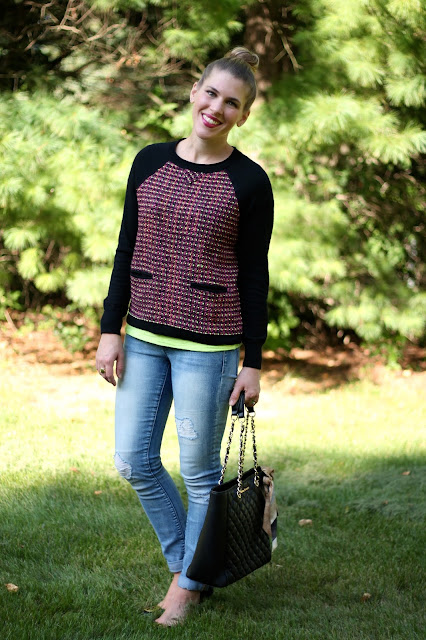 J.Crew tweed sweater, distressed jeans, Greg Michaels tote, Tory Burch flats