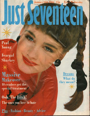 Girl with side ponytail on the cover of Just Seventeen Jan 1986