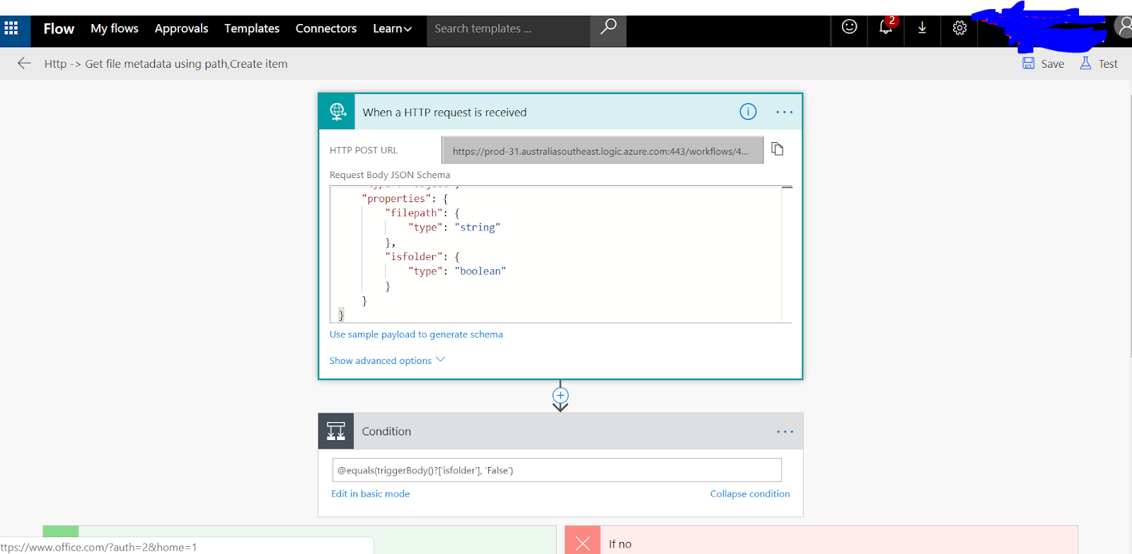 Microsoft Flow SharePoint isFolder condition check