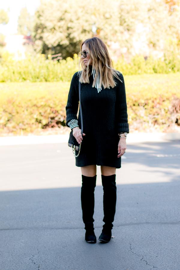 black knit sweater dress