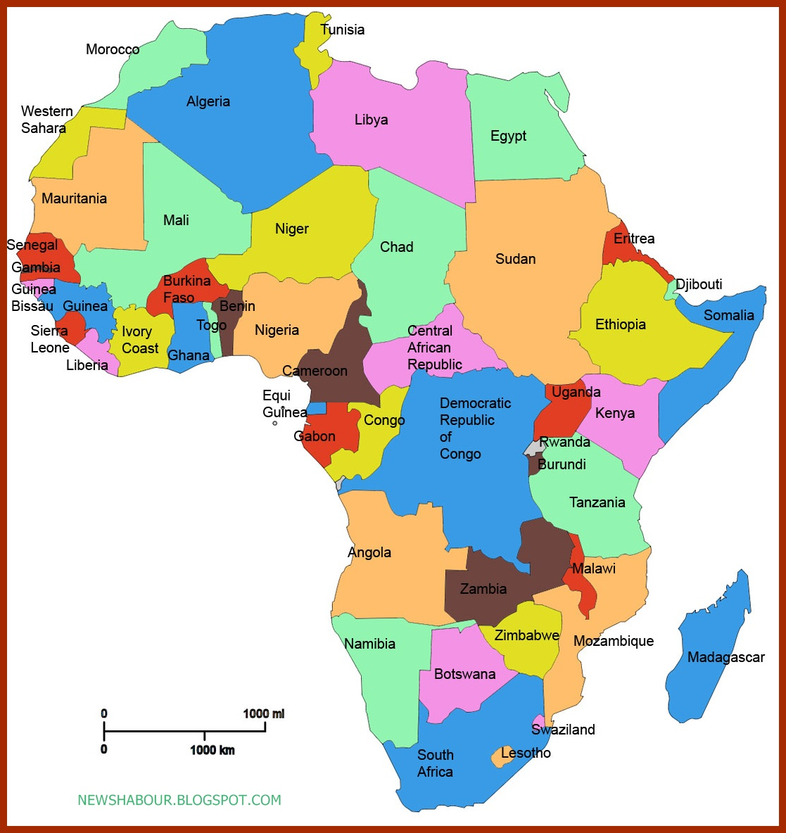 africa map capitals list