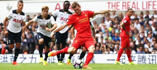 James Milner scores a penalty against Tottenham Hotspur
