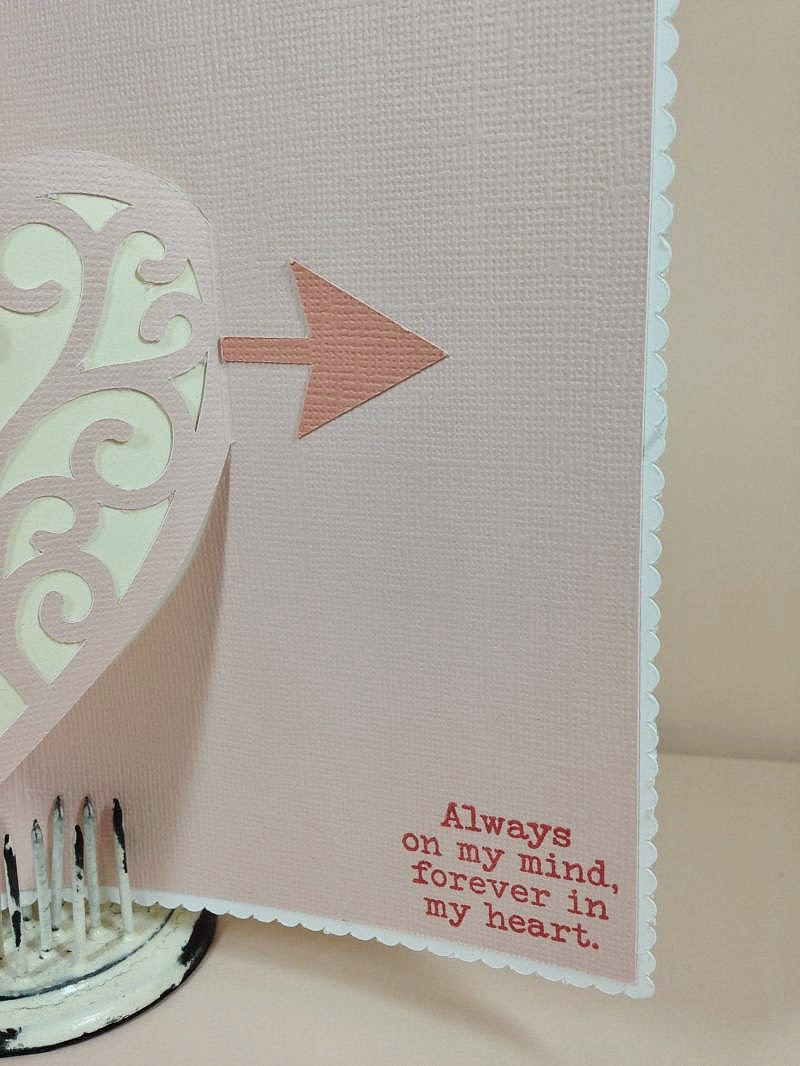 Close To My Heart Artfully Sent Valentine Pop-Up card inside sentiment
