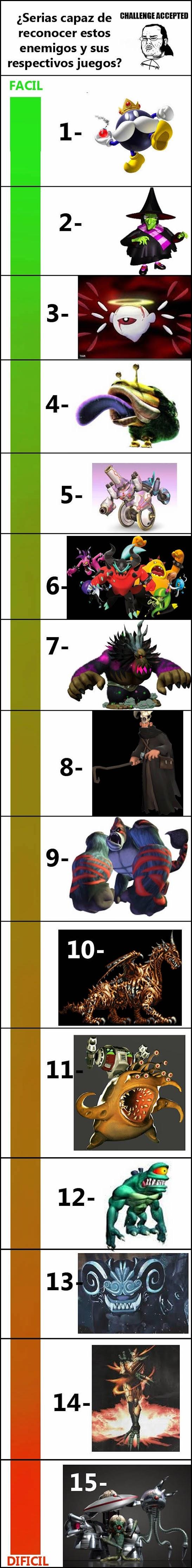 Serias capaz de reconocer algunos de estos enemigos