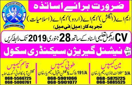 MA Islmiat MA English Teacher Jobs 2019
