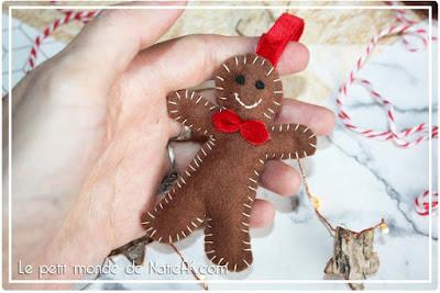 DIY : des décorations de Noël en feutrine : bonhomme pain d'épice