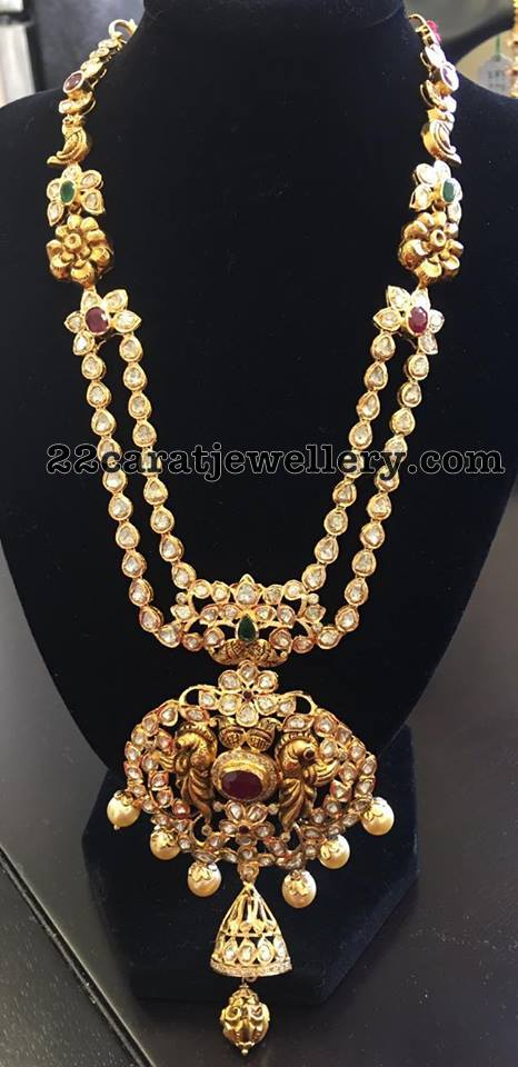 Two Rows Pachi Set with Peacock Pendant