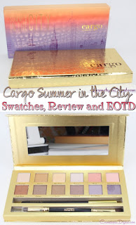 Here are swatches and review of the Cargo Cosmetics Summer in the City eyeshadow palette, and for an eye makeup I did with some of the shades.