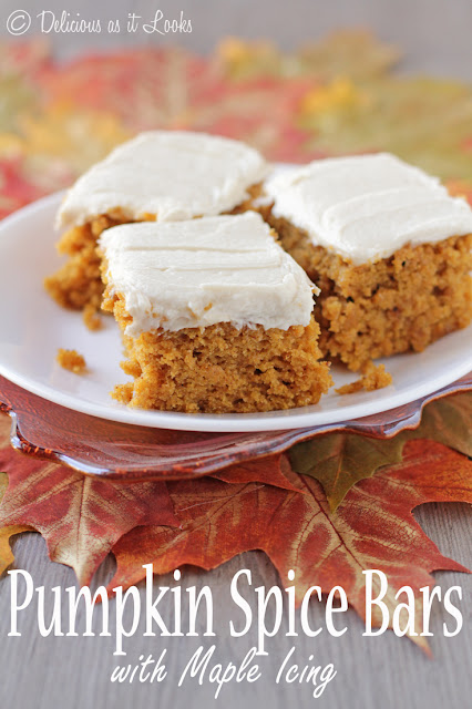 Pumpkin Spice Bars with Maple Icing {Gluten-Free, Gum-Free, FODMAP-Friendly}  /  Delicious as it Looks