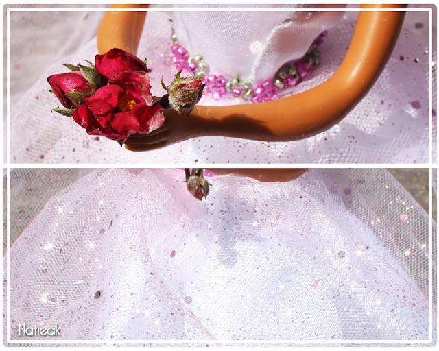 rose pour robe de mariée en tulle pailleté barbie