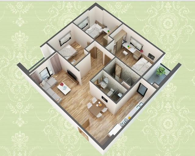 Mặt bằng thiết kế 3D căn hộ loại A
