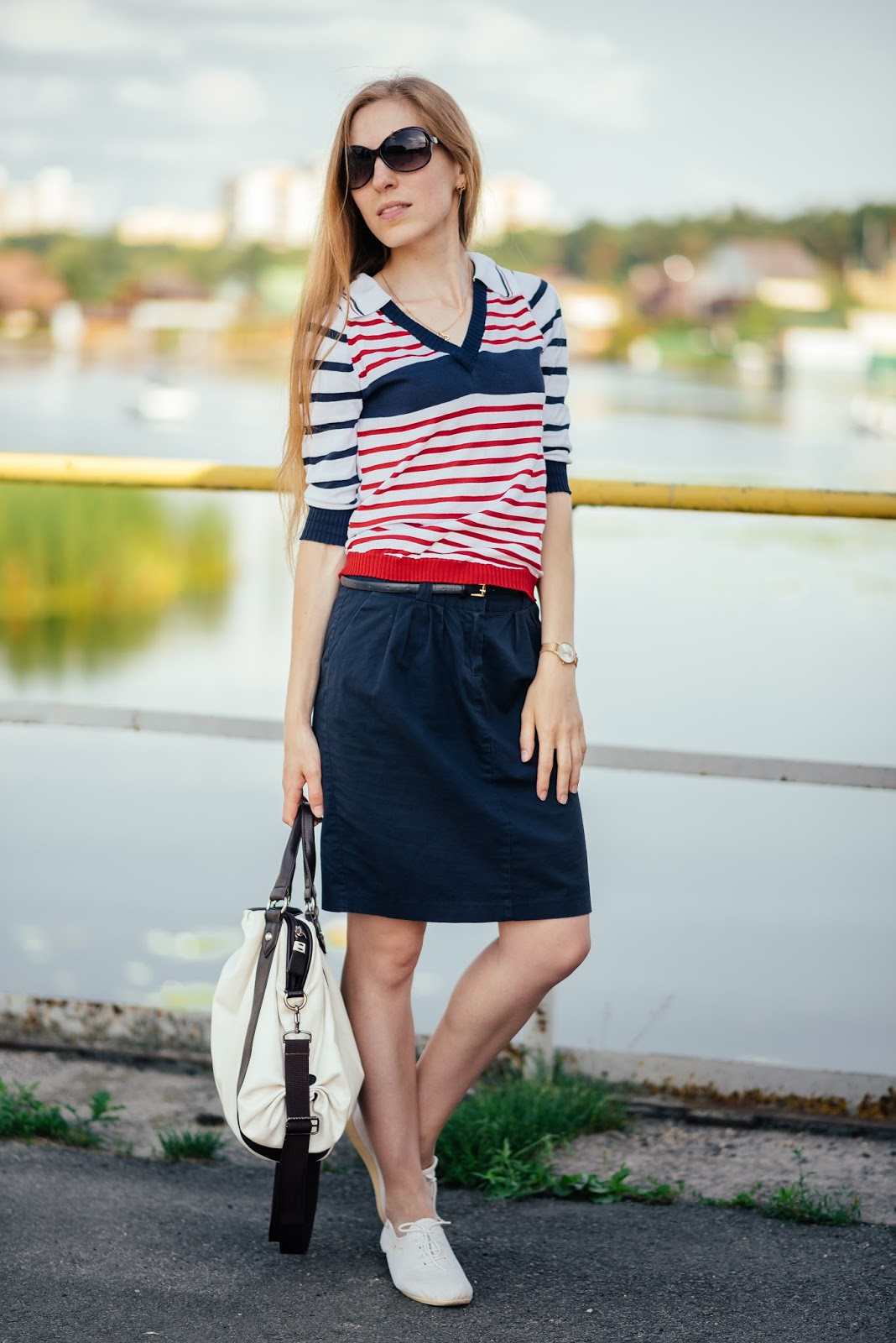 Polo shirt and skirt with pockets - style