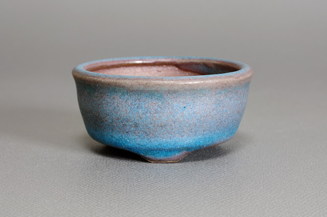 青銅マット釉丸盆栽鉢(Matt bronze glaze bonsai pot)h1740
