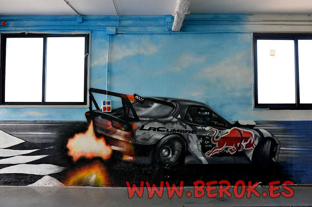Pintura mural taller coches