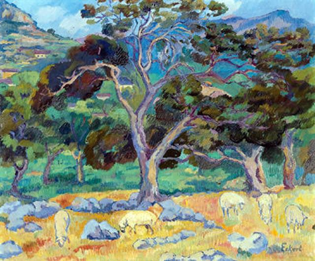 Robert Eckert, Mallorca en Pintura, Cala San Vicente, Mallorca en Pintura, Paintirng of Cadaqués, Mallorca pintada, Paisaje de Pollensa, Paisajes de Mallorca, Mallorca en Pintura
