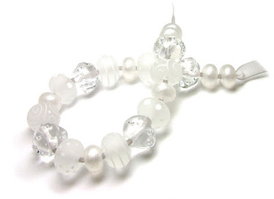 Clear & White Lampwork Glass Beads title=