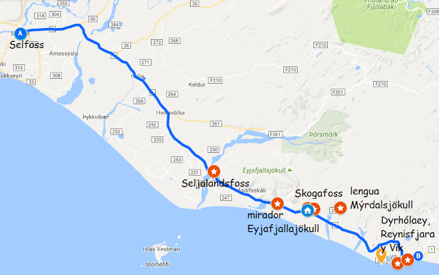 mapa de visitas desde Selfoss hasta Vik en Islandia