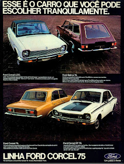 propaganda Linha Ford Corcel 75 - 1974. brazilian advertising cars in the 70. os anos 70. história da década de 70; Brazil in the 70s; propaganda carros anos 70; Oswaldo Hernandez;
