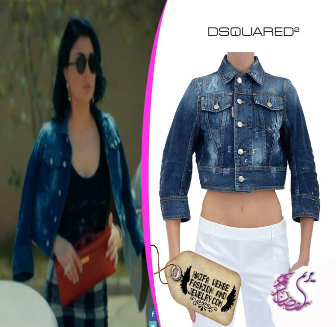 12750d15377f Haifa Wehbe Wearing Short Kawaii Denim Jacket by Dsquared2