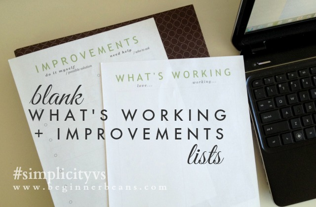 "Simplifying Home: blank ""what's working"" + ""improvements"" lists"