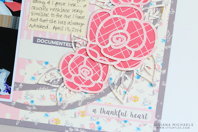 First Holy Communion Scrapbook Page by Juliana Michaels using A Rose Is A Rose Free Digital Cut File and Elle's Studio Thankful collection.