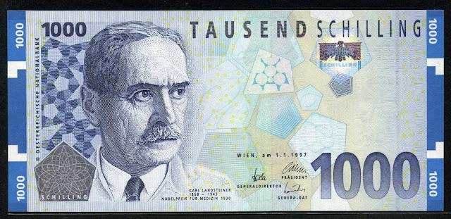 Austria money currency 1000 Austrian Schilling euro banknote