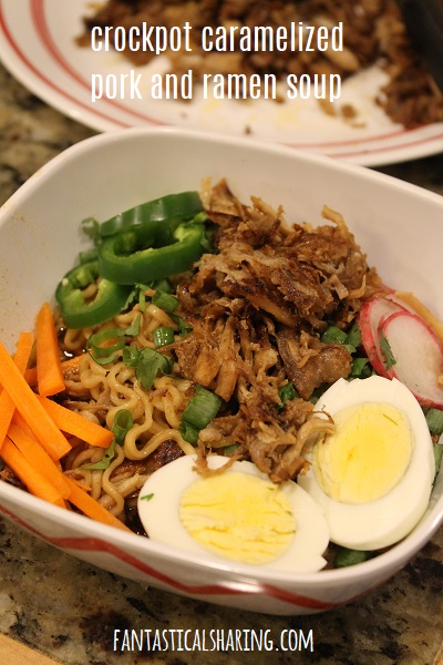 Crockpot Caramelized Pork and Ramen Soup #crockpot #ramen #pork #soup #maindish #recipe