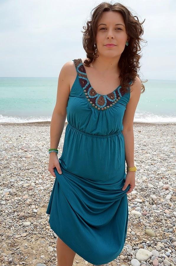 maxi vestido, turquesa, playa, mar, azul, C&A, vestido largo