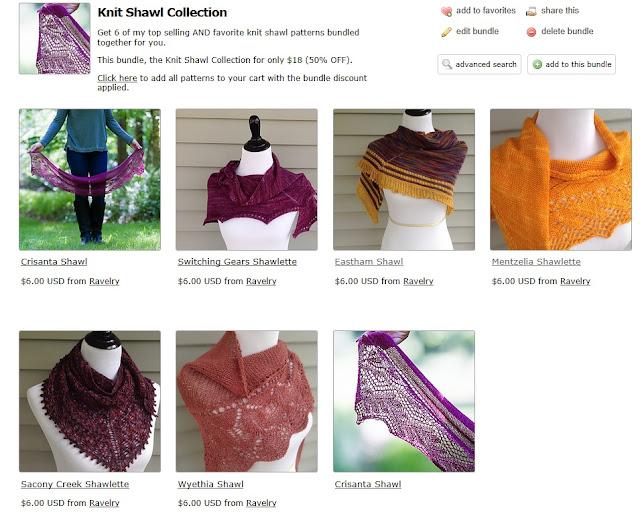 Knit shawl bundle, Tian Connaughton. KnitDesigns by Tian