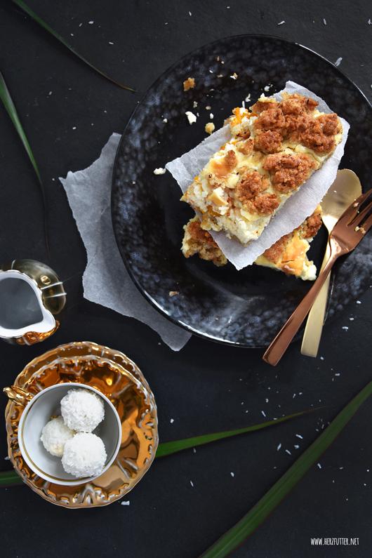 Mandarinen-Quark-Streusel-Schnitten mit Raffaellos