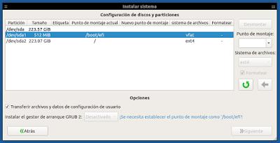 Systemback Instalar sistema seleccionar EFI