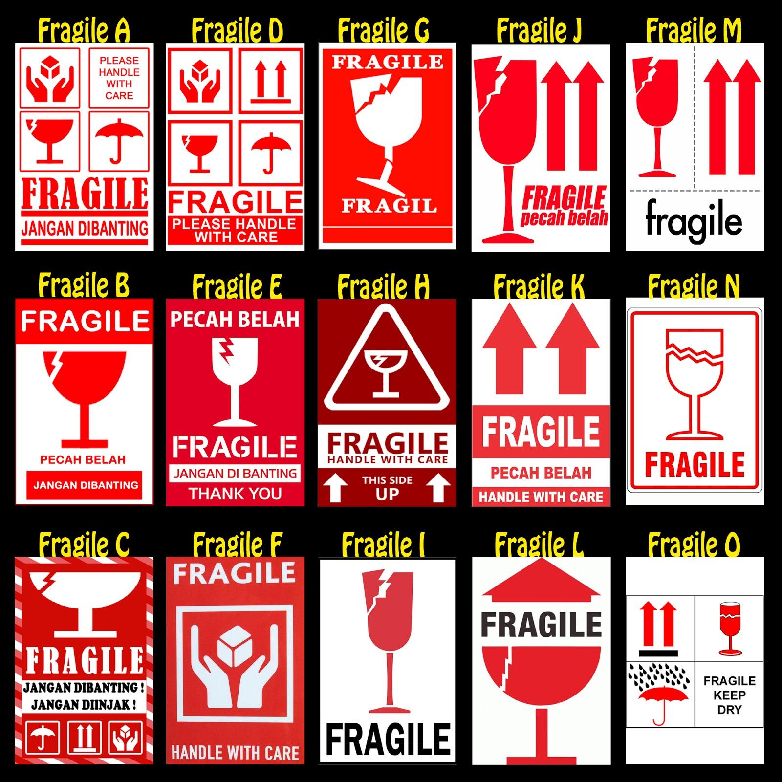 jual sticker fragile, stiker pecah belah pengiriman murah
