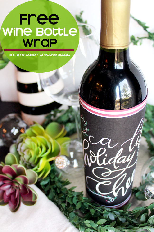 a little holiday cheer, wine bottle wrap, hostess gift, holiday party gift