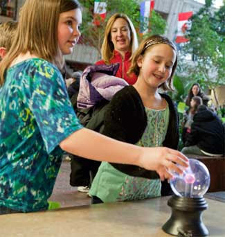Hands-on activities at the Fermilab Open House. Image credit Fermilab.