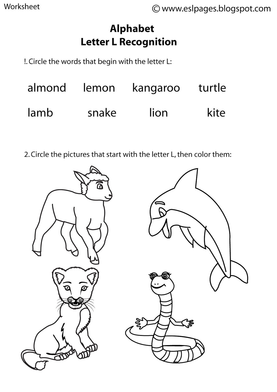 letter recognition pdf esl pages alphabet worksheets 6521