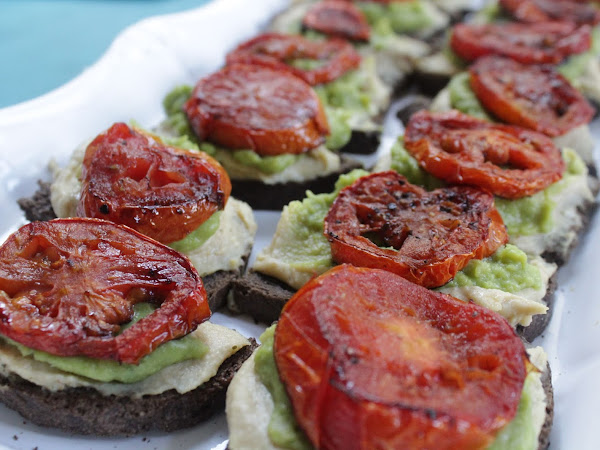 Is that really vegan? (Veganish hummus avocado and tomato toasts)