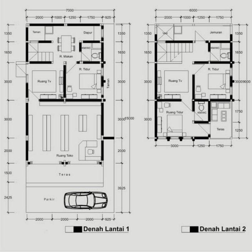 denah rumah ruko 2 lantai 7x10 m yang menarik