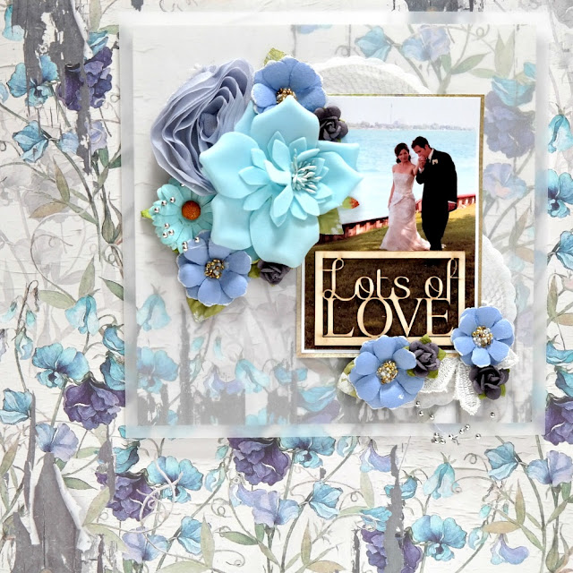 Lots of Love Blue Wedding Layout by Dana Tatar for FabScraps