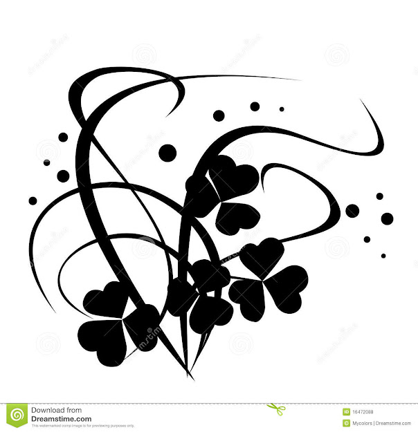Black Vector Floral Illustration On White