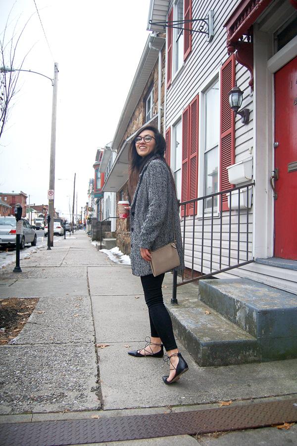 Gray Coat Black Jeans Lace Up Flats