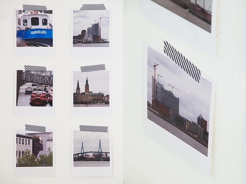 DIY Scandinavian modern wall decoration with polaroid photos from Hamburg